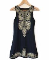 Free People Embroidered Sequin Dress Size XS 8 Gold Navy Paisley Sleeveless Boho
