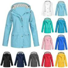 Womens Waterproof Jacket Raincoat Ladies Outdoor Hood Windbreaker Rain Coat Size