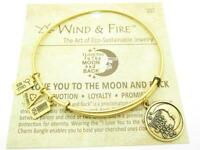 Wind & Fire I Love You To The Moon And Back Charm Wire Bangle Stackable Bracelet