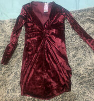 Brand New Boohoo Wrap Twist Front Dress Size 18 With Tags Crush Velvet Wine Red