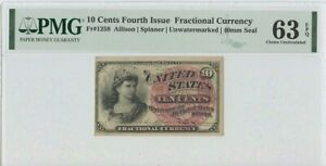 Fourth Issue 10 Cents FR#1258 PMG 63  CH UNC EPQ Unwatermarked