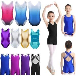 Girls Gymnastics Bodysuit Kids Balllet Dance Leotard Jumpsuit Stage Dancewear