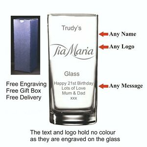 Personalised Hi Ball, Tia Maria Glass, Birthday, Christmas, Valentines day Gift