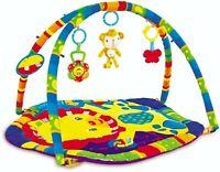 Baby Colourful Teddy Adventure Play Mat Playmat & Sensory Toys + Mirror!