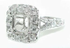 1.5 CT EXQUISITE CUSHION HALO Split Shank DIAMOND Mounting RING Setting 14K WG