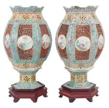 Rare pair of hexagonal Chinese Famile rose porcelain two part wedding . Lot 97