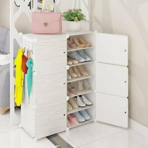 12 Cubes Interlocking DIY Shoe Bookcase Organizer Rack Stand Storage Cabinet