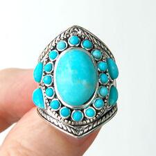 R028  Bague Style Amérindien Argent Massif 925  Turquoise T58