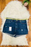 New PAIGE shorts Women's High Waist Margot Shorts Denim Destructed Size 32