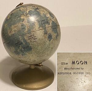 Vintage REPLOGLE Globes The MOON Tin Litho Coin Bank Lunar Globe Model on Stand
