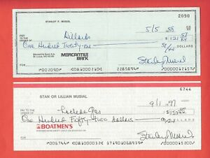 STAN MUSIAL CHECK SIGNED STANLEY ST LOUIS CARDINALS ** NOT STAMPED OVER NAME! **