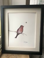 Robin And Bee, Watercolour, Original Signed Art Not A Print, Gift, Family