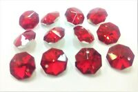 50 Metallic Red Octagon Chandelier Crystal Beads Suncatcher Octagons