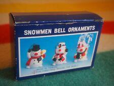 VINTAGE 3 Asian Snowmen CHRISTMAS Ornaments Red White Green Porcelain Bell NEW