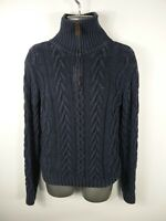 MENS GANT NAVY BLUE 1/4 ZIP UP CABLE KNIT LONG SLEEVED CASUAL JUMPER UK S SMALL
