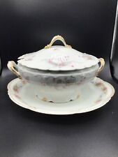 Antique Theodore Haviland Limoges France Patent Applied For Soup Tureen &Platter