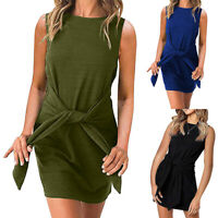 Womens Sleeveless Belted Mini Dress Ladies Evening Party Bodycon Pencil Dress UK
