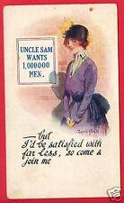 COMIC UNCLE SAM WANTS 1 MILLION MEN WOMAN McGILL CLEVENGER STANTON MI POSTCARD