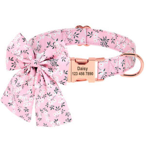 Floral Printed Personalized Dog Collar & Wedding Bow tie Comfortable Adjustable