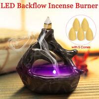 LED Light Buddhist Ceramic Backflow Censer Burner Holder with 5 Incense Cones