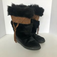 Oscar Sport Vega Italy Black Fur Leather Trim Winter Boot Ski EUR 38 US 7-71/2