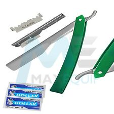 Pro BARBER Salon Straight CUT THROAT Shaving RAZOR + 10 BLADES FREE Steel GREEN