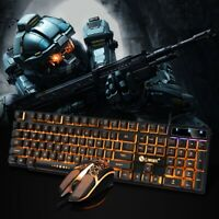 Rainbow LED Gaming Keyboard Mouse Set Multi-Colored Changing Backlight 1200 DPI