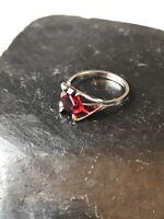 Vintage ESPO Joseph Esposito Espo Red Ruby Sterling Silver Ring Size 5 1/4