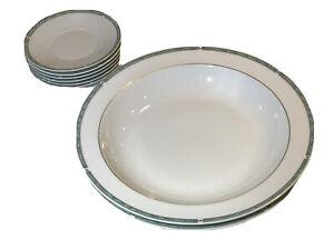 6 Saucers and 2 Plates BERNARDAUD LIMOGES Porcelain GEMME VERT GREEN Brand New!!