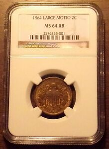 1864 Two 2 Cent Piece NGC MS 64 RB.............Lot #6972