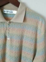 ST. CROIX Men's Knits Sweater Polo Short Sleeve Cotton Blend XL Taupe Multicolor