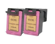 2pcs HP 61XL Color CH564WA Reman Ink Cart 66% More Ink