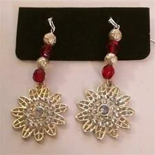 Perfect for Christmas Snowflake with Red Bead Dangles Earrings Silver Tone Metal