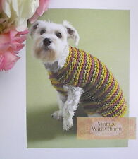 "Dog Coat Knitting Pattern ""Cute As A Button"" In 4 Sizes Small To Extra Large!!"