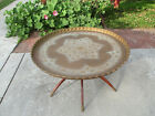 Vintage Moroccan India/Indian Brass Table and Wooden Stand  Mid-Century 1950s