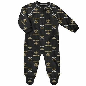 New Orleans Saints Toddler Full Zip Raglan Coverall PJs Pajamas Footed Sleeper