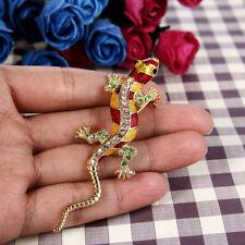 Gecko Yellow Enamel Austrian Crystal Animal Brooch Pin Gold Gp Party Gift