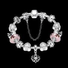 925 Silver Filled Bracelet Charms Love Heart Flower Beads Vintage Crystal BL317