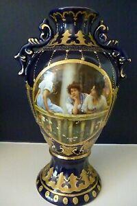 """Antique Art Nouveau Royal Limoges Cobalt Blue Jewelled Gold Vase 14"""" Tall - VGC"""