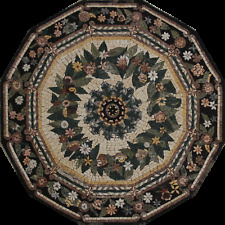 Floor Medallion Floral Dodecagon Mosaic 30'' Marble Mosaic MD1419