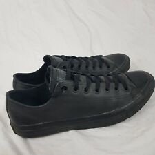 Converse All Stars Black Leather Lace Up Trainers Shoes Size UK 9 Unisex