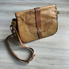 ALVIERO MARTINI GEO Crossbody Shoulder Messanger Saddle Bag ITALY Map Vintage