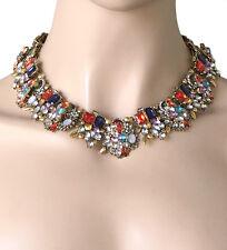 Designer Inspired Cleopatra Necklace, Multicolor Rhinestones Drag Queen, Pageant