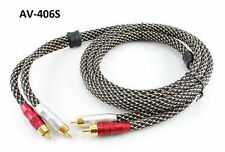 6ft Premium 2-RCA 24K Gold-Plated Male / Male Braided Sleeve Stereo Audio Cable