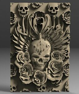3D STL Model SKULL & ROSES for CNC Router 3D Printer Engraver Carving Aspire