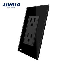 Livolo 3Pcs Us Ac Multi Plugs Wall Socket 2 Pin Socket 16A Glass Panel Black