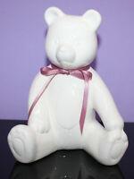"1980s Vintage 8"" White Ceramic Sitting Teddy Bear ~ Not A Bank"