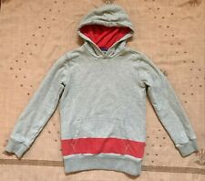 Mini Boden Gray Red Hooded Sweatshirt with Pockets, Size 9/10