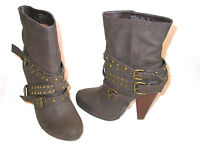 "Bamboo Mid Calf Boots Womens 10 Studded Straps 4.75"" Heels Brown Funky Mint"