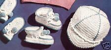 Vintage Crochet PATTERN to make Baby Boy Visor Cap Booties Mittens Set Rope Trim
